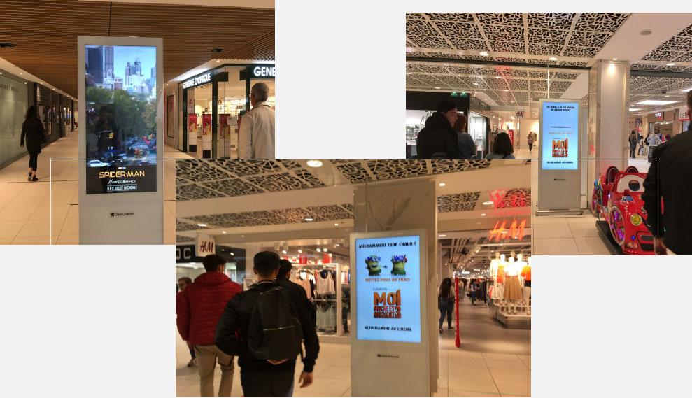 panneaux affichages centre commerciaux, affichage publicitaire, campagne publicitaire