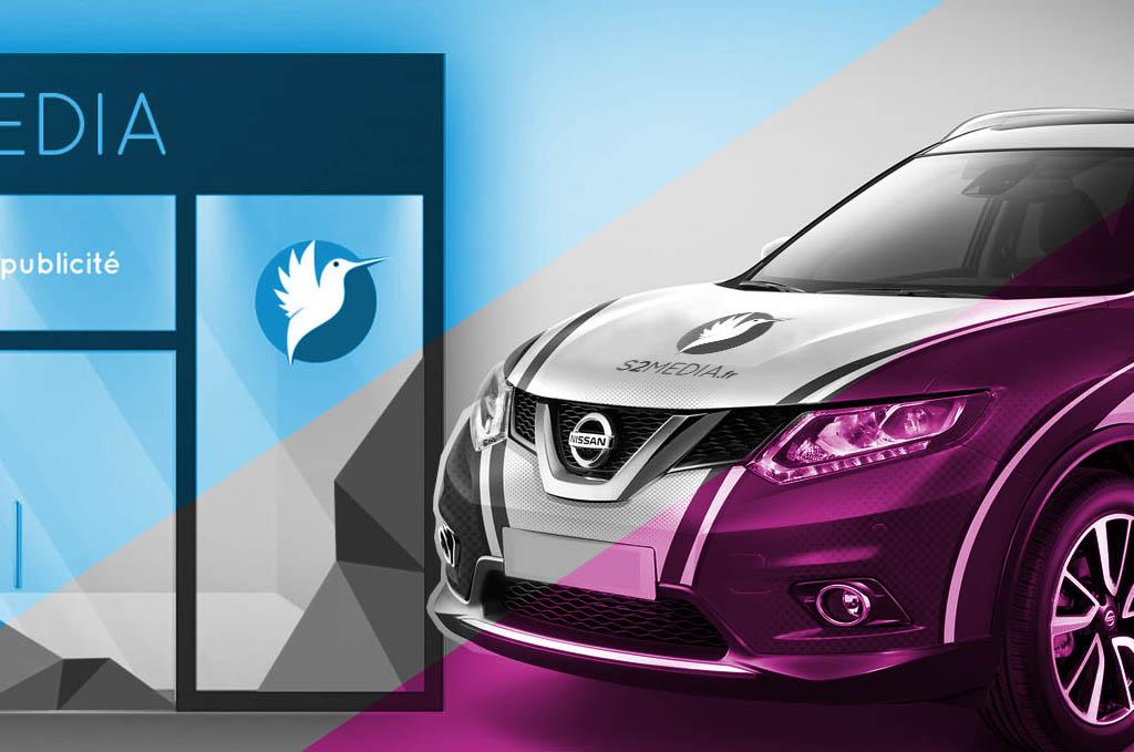 décoration véhicule, décoration vitrine, agence de publicité